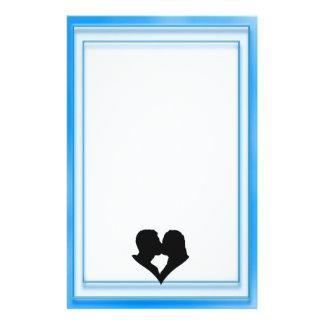 Couple Kissing Silhouette in Heart Shape Custom Stationery