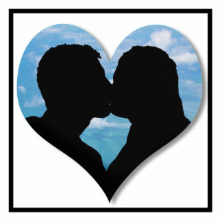 Couple Kissing Silhouette with Blue Sky Heart Standing Photo Sculpture