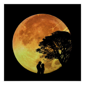 Couple Love Romance Lovers Moonlight Romantic Poster