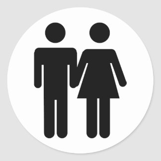 couple man and woman love icon classic round sticker