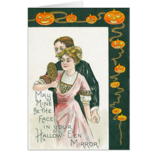 Couple Mirror Marriage Jack O Lantern Pumpkin Card