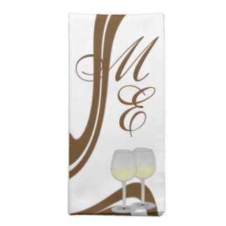 Couple Monogrammed Champagne Glasses Napkin