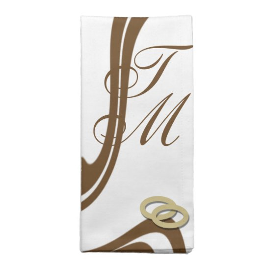 Couple Monogrammed Gold Wedding Bands Cloth Napkin