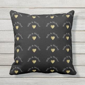 couple names love monogram on black outdoor pillow