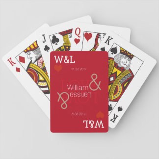 couple names, romantic celebration, wedding red playing cards