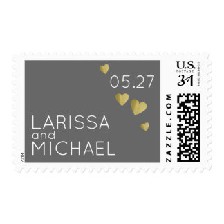 couple names / special day, gray postage
