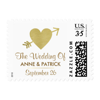 couple names with faux gold heart, love wedding postage