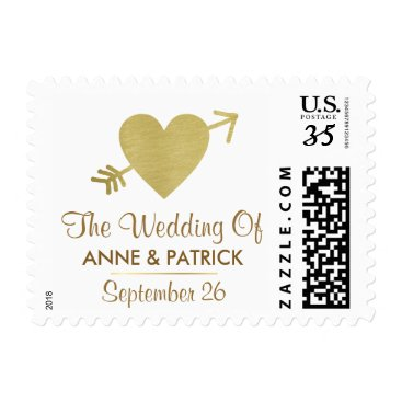 mixedworld couple names with faux gold heart, love wedding postage