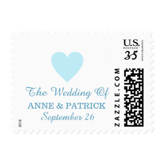 couple names with pale blue heart, love wedding postage