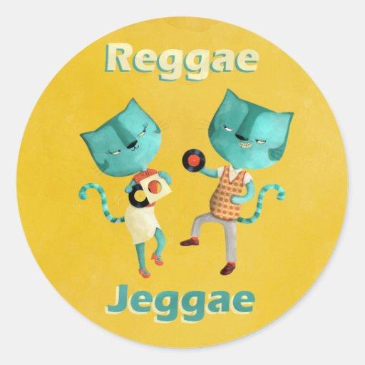 Couple of Blue Reggae Cats Classic Round Sticker