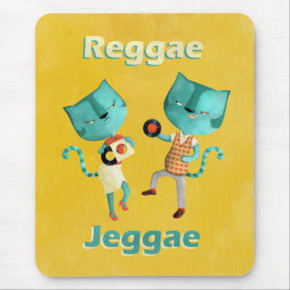 Couple of Blue Reggae Cats Mouse Pad
