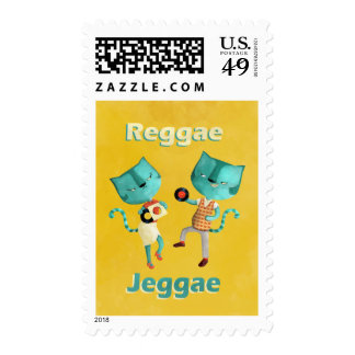 Couple of Blue Reggae Cats Postage Stamp