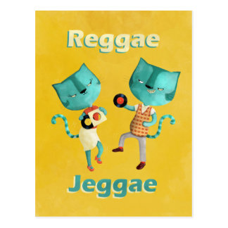 Couple of Blue Reggae Cats Postcard
