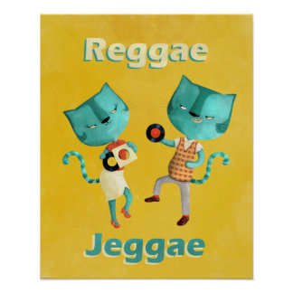 Couple of Blue Reggae Cats Poster