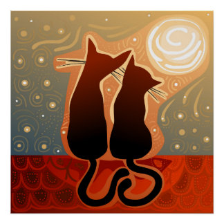 couple of cats in love on a house roof poster