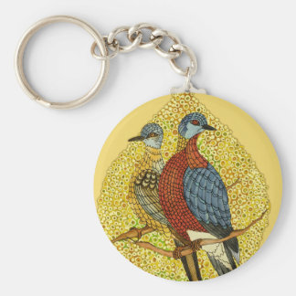 Couple of Passenger Pigeons Keychain