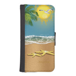 Couple of Starfish On The Beach iPhone SE/5/5s Wallet Case