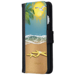 Couple of Starfish On The Beach Wallet Phone Case For iPhone 6/6s