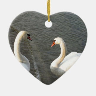 Couple of white swans on the lake ceramic ornament