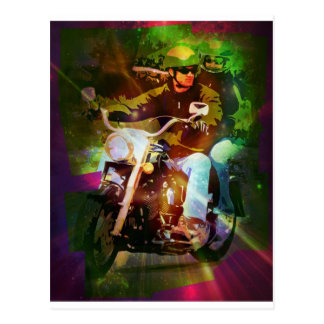 Couple on a Motorcycle - Green Postcard