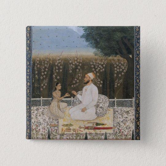 Couple on a Terrace in a Garden Button