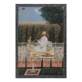 Couple on a Terrace in a Garden Poster