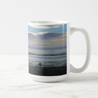 Couple on Beach Gazing into Sunset and Ocean Mugs