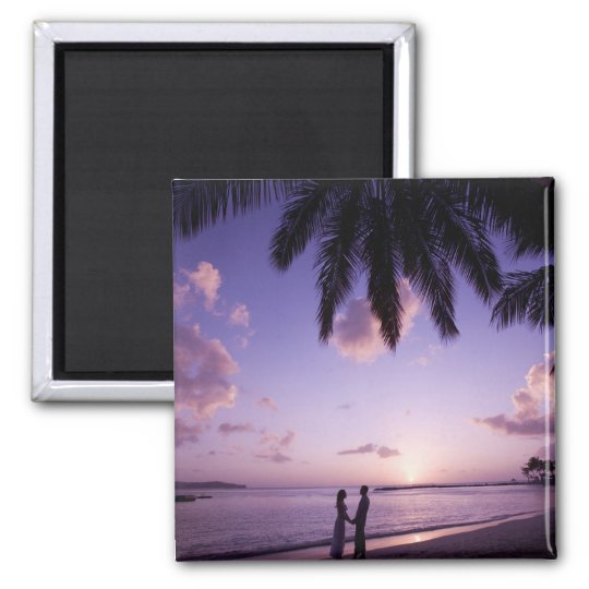 Couple on beach, Windjammer Landing, St. Lucia Magnet