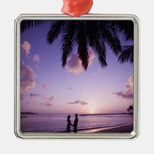 Couple on beach, Windjammer Landing, St. Lucia Ornaments