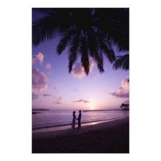 Couple on beach, Windjammer Landing, St. Lucia Photo Print