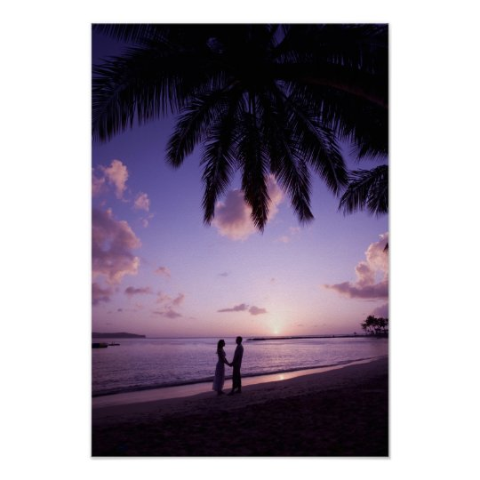 Couple on beach, Windjammer Landing, St. Lucia Poster
