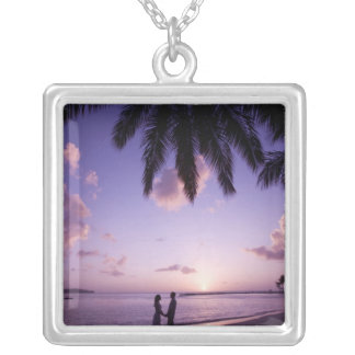 Couple on beach, Windjammer Landing, St. Lucia Silver Plated Necklace