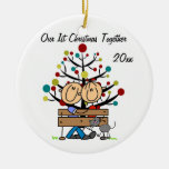 Couple on Bench, Cat Personalized Holiday Ornament