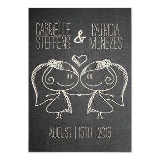 Couple on Blackboard Lesbian Wedding Invitation