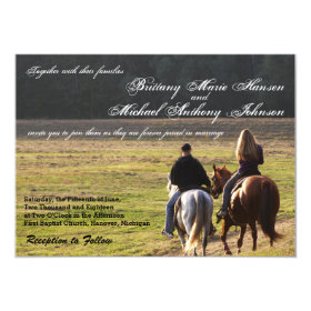 Couple on Horses Hay Field Wedding Invitations