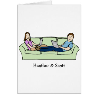 Couple on laptops- custom cartoon card