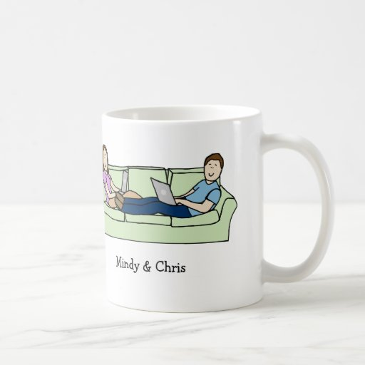 Couple on laptops mug