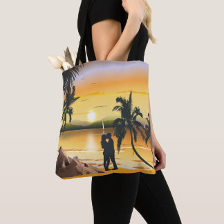 Couple on Sunset Beach With Palm Trees Tote Bag