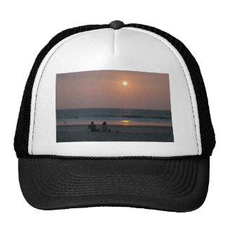Couple on the Beach at Sunset Mesh Hat