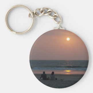Couple on the Beach at Sunset Keychains
