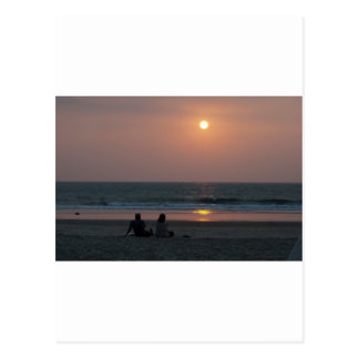 Couple on the Beach at Sunset Postcard
