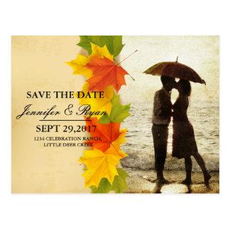 Couple on the beach/fall theme postcard