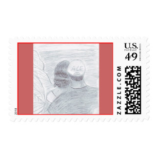 Couple On The Beach Postage Stamps
