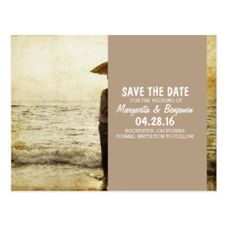 couple on the beach/Save The Date Postcard