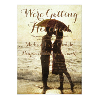 couple on the beach/Wedding Invitation