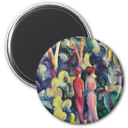 Couple on the Forest Track by August Macke Magnet