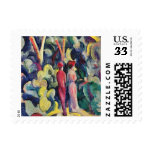 Couple on the Forest Track by August Macke Postage Stamp