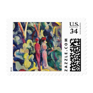 Couple on the Forest Track by August Macke Postage
