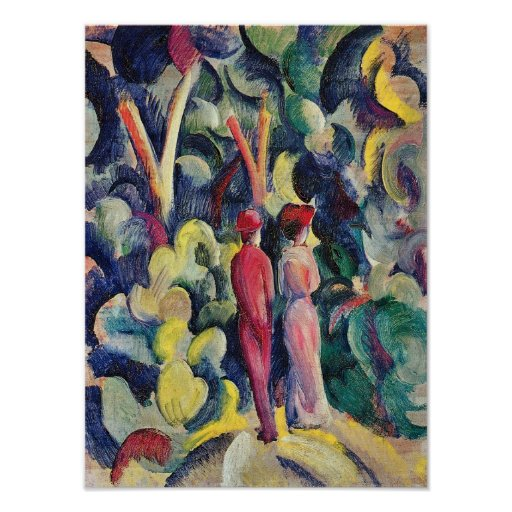 Couple on the Forest Track by August Macke Poster