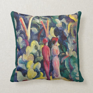 Couple on the Forest Track by August Macke Throw Pillow